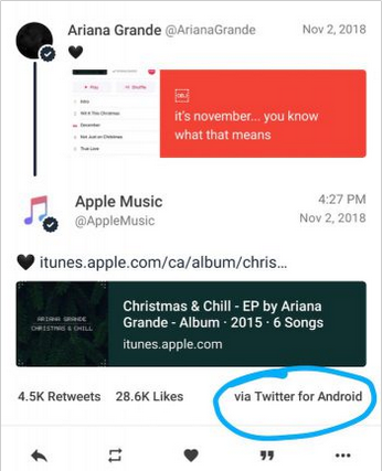 arianna Grande apple tweet Android - Blog SFAM