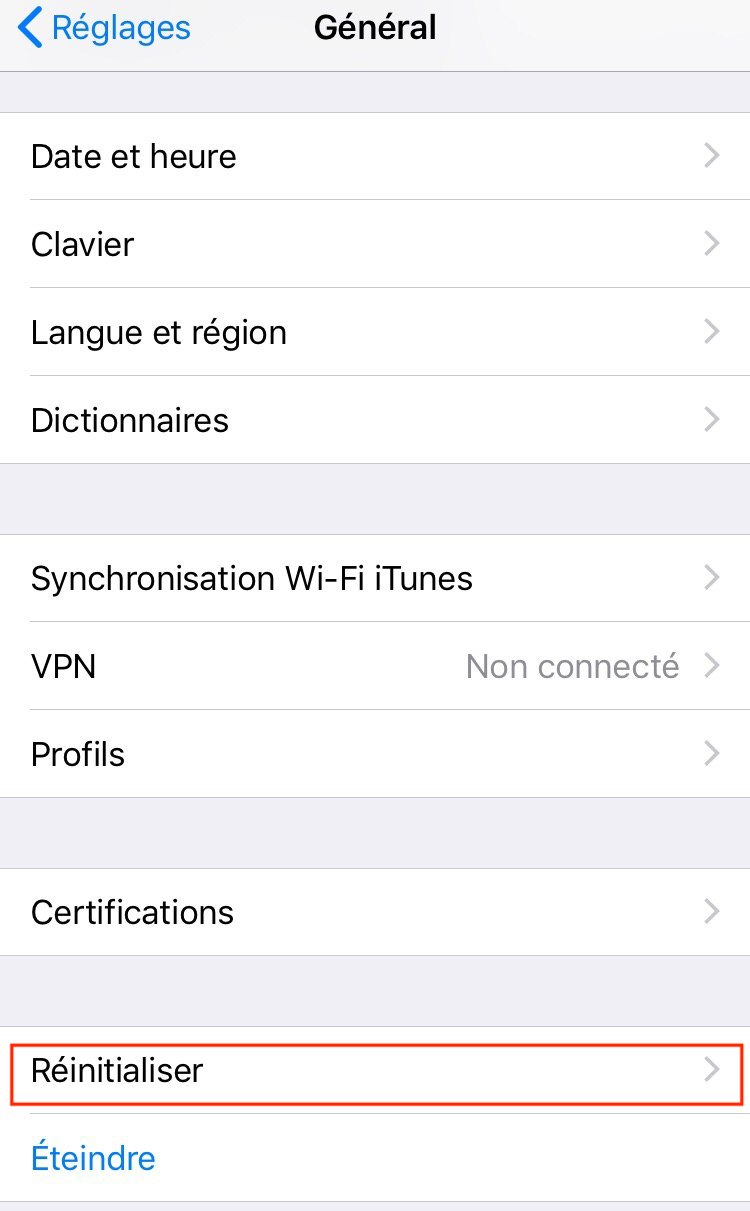 comment reinitialiser iphone - Blog SFAM