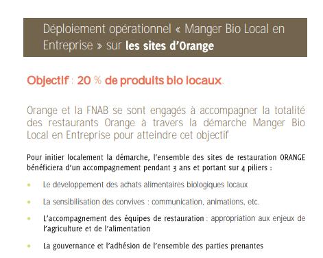 Extrait communique Orange Bio : blog SFAM
