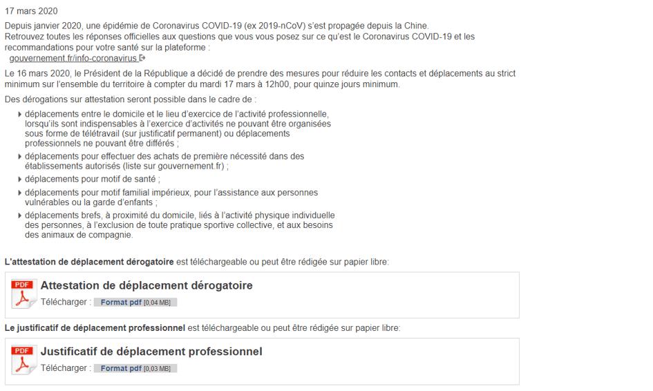 attestation de deplacement derogatoire - Blog SFAM